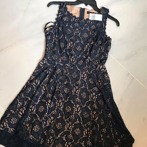 Tan/navy lace dress, NWT